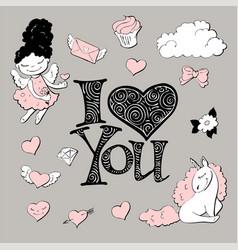 cute princess sticker set with unicorn vector image vector image