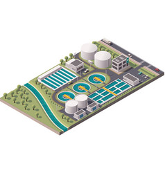 isometric water treatment plant vector image vector image