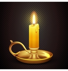 Realistic burning romantic candle isolated on vector image