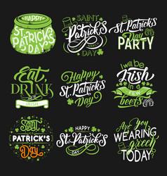st patrick green symbol for irish holiday design vector image