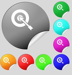 target icon sign Set of eight multi colored round vector image