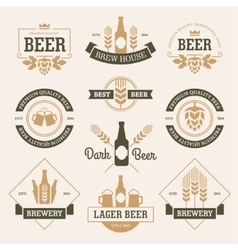 Beer emblems on light background vector image