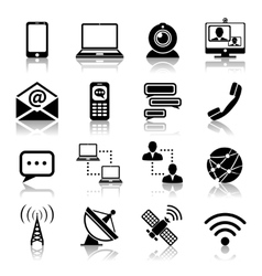 Communication icon black set vector image