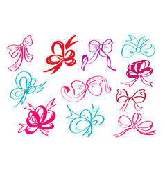 doodle style decorative multicolor ribbon and bow vector image