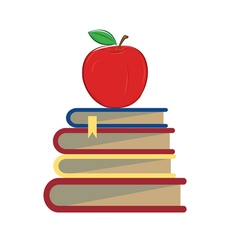 books apple school vector image