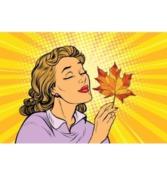Girl and autumn a woman with red maple leaf vector image