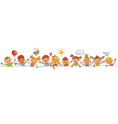 group of children with blank board vector image vector image