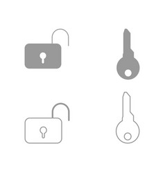 key and lock set icon vector image vector image