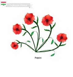 Red Poppies The Popular Flower of Tajikistan vector image vector image