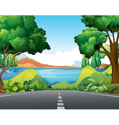 Scene with road to the lake vector image vector image