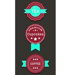 Set labels and badges with Coffee Tea Cupcakes vector image