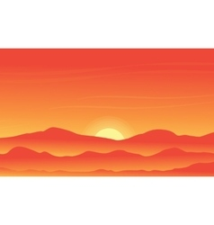 Silhouette of desert on orange backgrounds vector image vector image