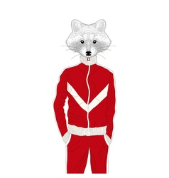 brutal raccon boy in sport suit 90s Hand drawn vector image