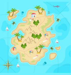 cartoon tropical island in ocean top view exotic vector image vector image