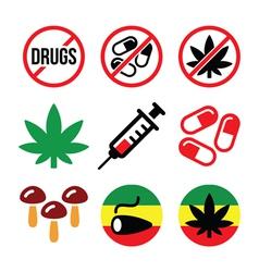 Drugs addiction marijuana syringe colorful icon vector image