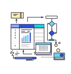 Icon Flat Style Design Working Process vector image
