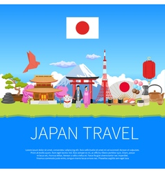 Japan Travel Flat Composition Advertisement Poster vector image vector image