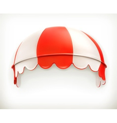 Red an white striped awning excellent canopy vector image vector image