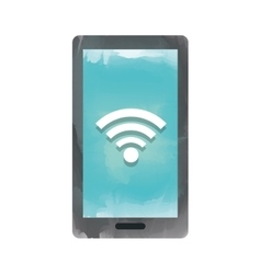 smartphone with signal wifi isolated icon design vector image