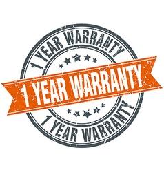 1 year warranty round orange grungy vintage vector