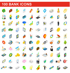 100 bank icons set isometric 3d style vector image