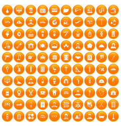100 craft icons set orange vector