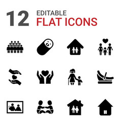 12 family icons vector image