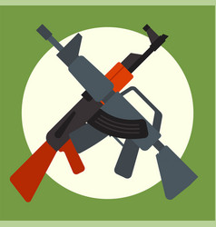ak47 icon and m16 icon machine gun black vector image