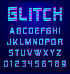 Alphabet font glitch effect design vector
