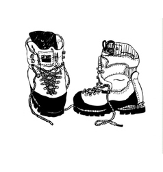 Alpine hiking boots vector image