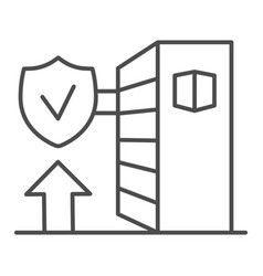Automated warehouse shelves thin line icon smart vector