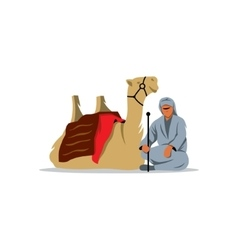 Bedouin and camel sign vector