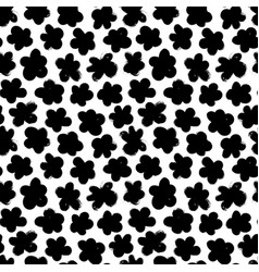 black abstract flowers seamless pattern vector image