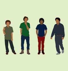 Black teen boys vector