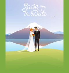 bride and groom and mountains wedding ceremony by vector image