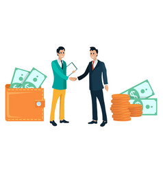 business partners handshake and wallets with money vector image