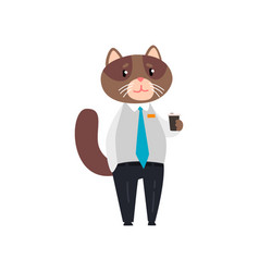 businessman cat standing with cup of tea vector image