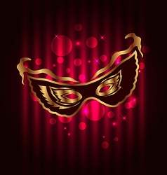 Carnival or theater mask on glowing background vector
