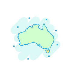 cartoon colored australia map icon in comic style vector image