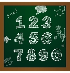 Chalk drawing numbers vector