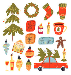 christmas hand drawn isolated design graphic set vector image
