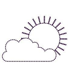 cloud and sun flat icon in purple dotted vector image