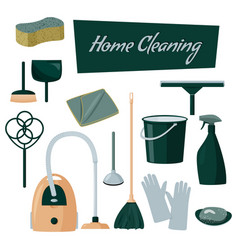 Colorful collection cleaning products home vector