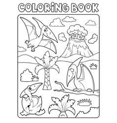 Coloring book pterodactyls theme image 1 vector
