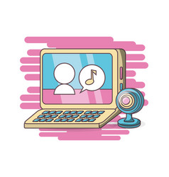 computer webcam chatting design vector image