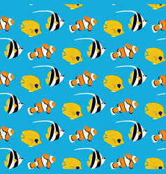 coral fishes seamless pattern vector image