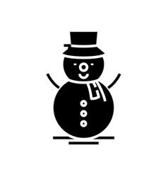 creating snowman black icon concept vector image