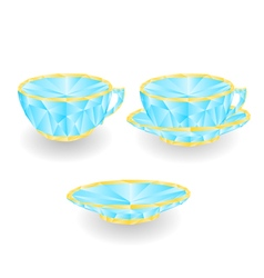 Cup with saucer polygons part of porcelain vector