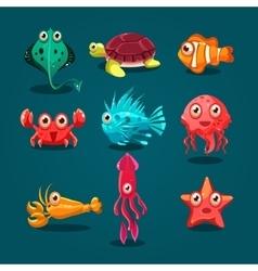 Cute Sea Life Creatures Cartoon Animals Set vector image