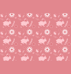 cute seamless pattern with rabbit cartoon vector image